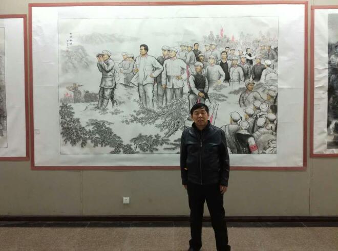 中国艺术大师、中国艺术研究院访问学者詹明荣创作巨幅革命历史国画《井冈脊梁》